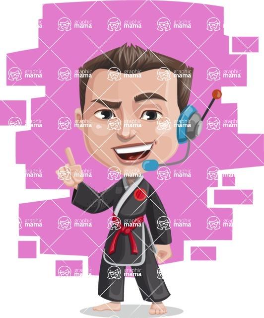 Chinese Karate Man Cartoon Vector Character AKA John Li - Shape 7