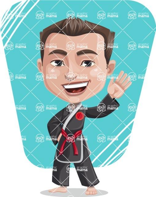 Chinese Karate Man Cartoon Vector Character AKA John Li - Shape 8