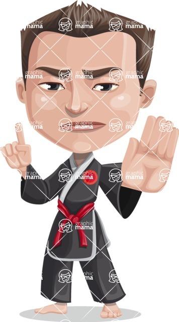 Chinese Karate Man Cartoon Vector Character AKA John Li - Direct Attention