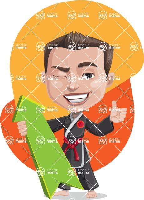 Chinese Karate Man Cartoon Vector Character AKA John Li - Shape 10