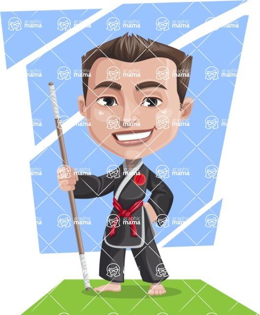 Chinese Karate Man Cartoon Vector Character AKA John Li - Shape 11