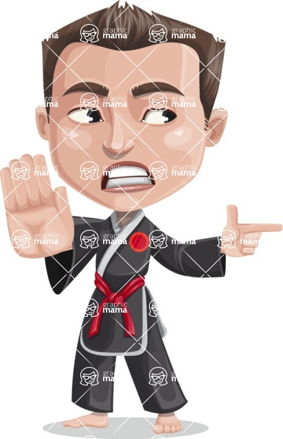 Chinese Karate Man Cartoon Vector Character AKA John Li - Direct Attention 2
