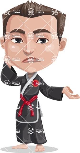 Chinese Karate Man Cartoon Vector Character AKA John Li - Sorry