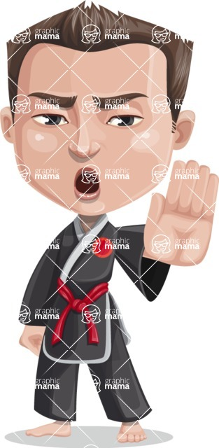 Chinese Karate Man Cartoon Vector Character AKA John Li - Stop