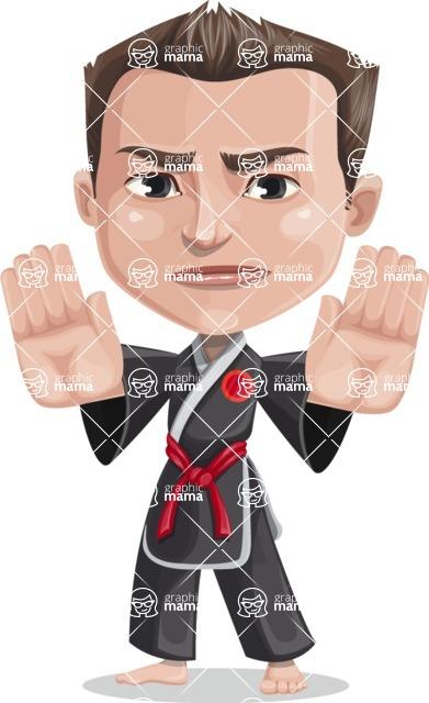 Chinese Karate Man Cartoon Vector Character AKA John Li - Stop 2