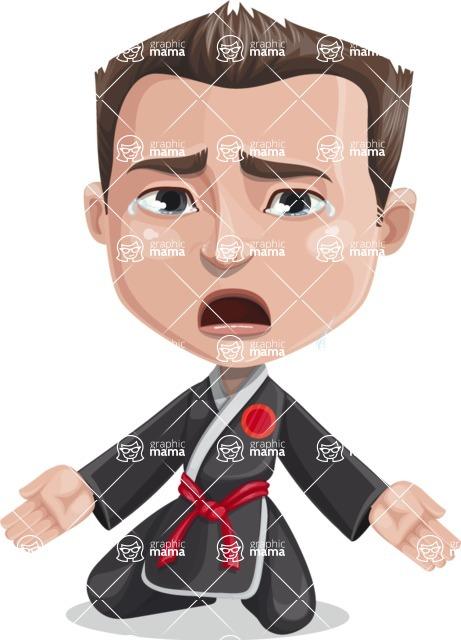 Chinese Karate Man Cartoon Vector Character AKA John Li - Sad