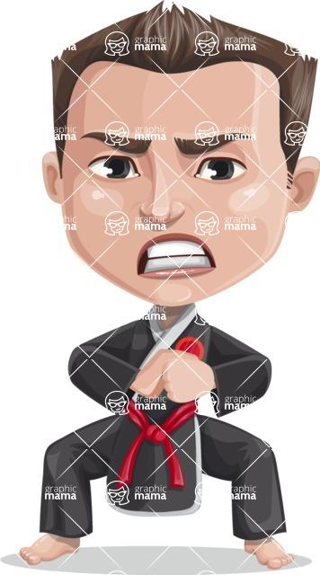 Chinese Karate Man Cartoon Vector Character AKA John Li - Angry