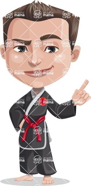 Chinese Karate Man Cartoon Vector Character AKA John Li - Attention