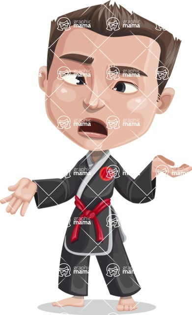 Chinese Karate Man Cartoon Vector Character AKA John Li - Confused