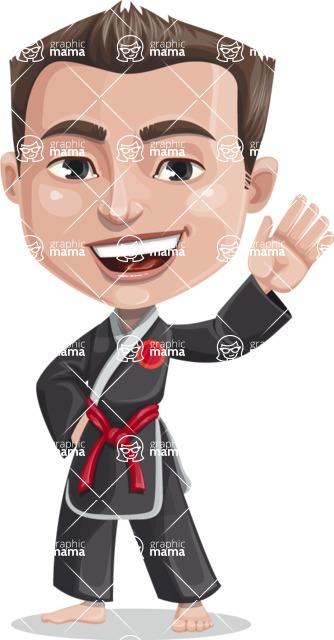 Chinese Karate Man Cartoon Vector Character AKA John Li - Hello