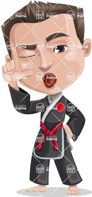 Chinese Karate Man Cartoon Vector Character AKA John Li - Making face