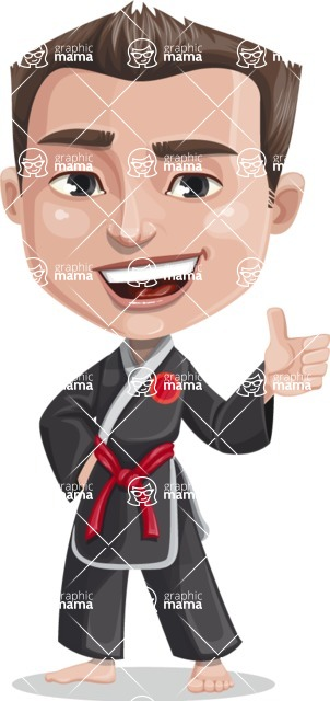 Chinese Karate Man Cartoon Vector Character AKA John Li - Thumbs up