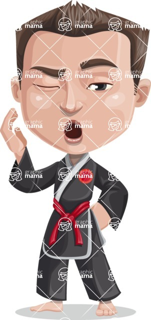 Chinese Karate Man Cartoon Vector Character AKA John Li - Bored 2