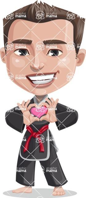 Chinese Karate Man Cartoon Vector Character AKA John Li - Show Love