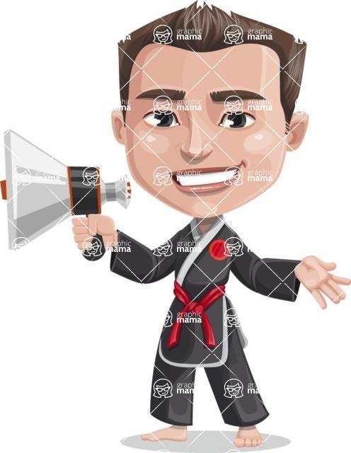 Chinese Karate Man Cartoon Vector Character AKA John Li - Loudspeaker