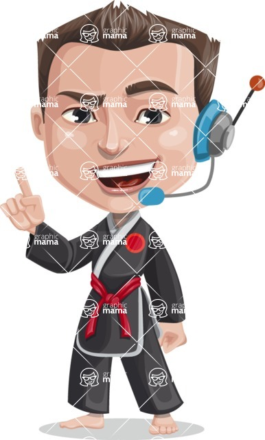 Chinese Karate Man Cartoon Vector Character AKA John Li - Support 2