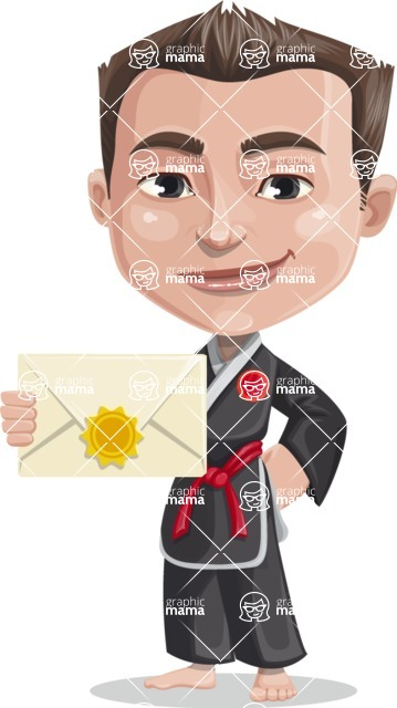 Chinese Karate Man Cartoon Vector Character AKA John Li - Letter