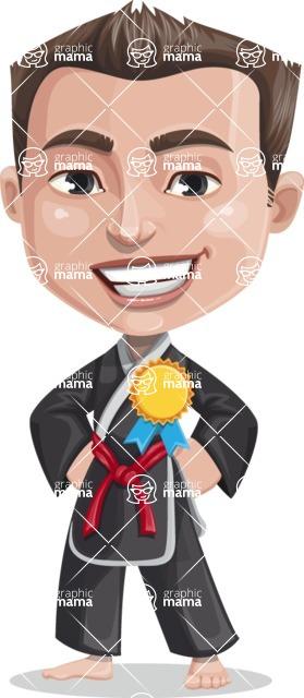 Chinese Karate Man Cartoon Vector Character AKA John Li - Ribbon