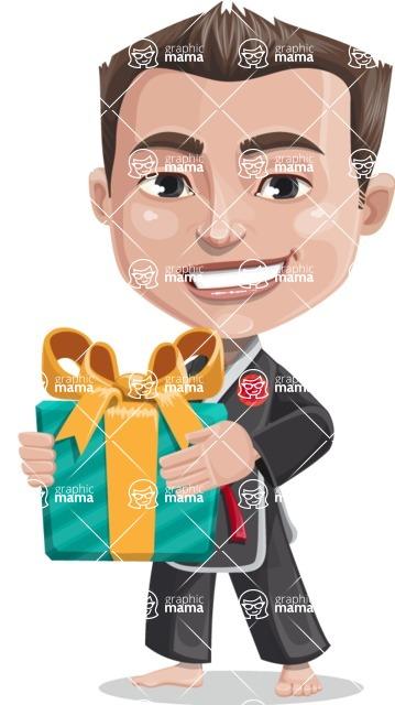 Chinese Karate Man Cartoon Vector Character AKA John Li - Gift