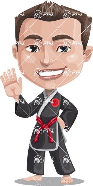Chinese Karate Man Cartoon Vector Character AKA John Li - Wave