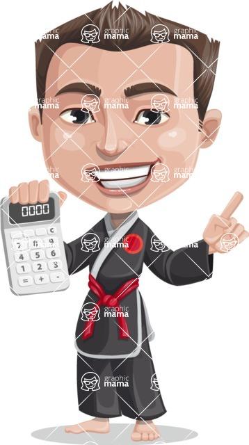 Chinese Karate Man Cartoon Vector Character AKA John Li - Calculator
