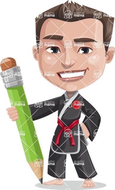 Chinese Karate Man Cartoon Vector Character AKA John Li - Pencil