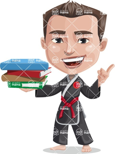 Chinese Karate Man Cartoon Vector Character AKA John Li - Book 2