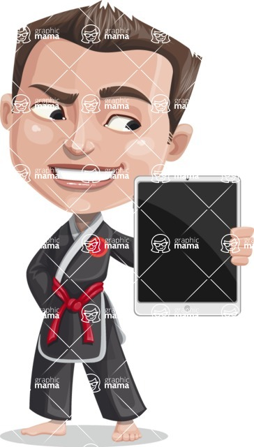 Chinese Karate Man Cartoon Vector Character AKA John Li - iPad 2