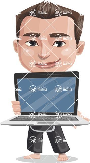 Chinese Karate Man Cartoon Vector Character AKA John Li - Laptop 2