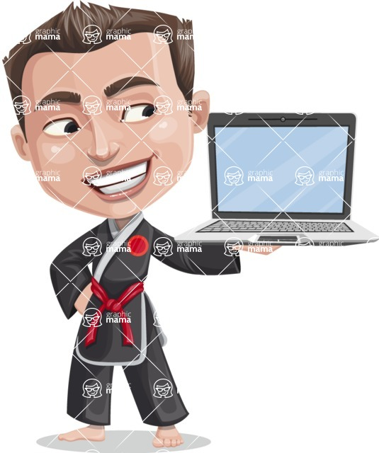 Chinese Karate Man Cartoon Vector Character AKA John Li - Laptop 3