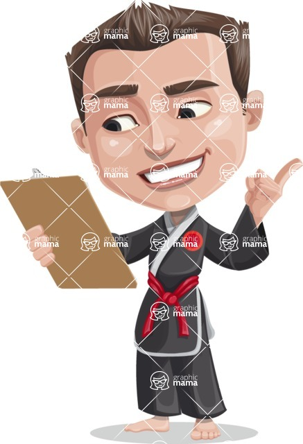 Chinese Karate Man Cartoon Vector Character AKA John Li - Notepad 2