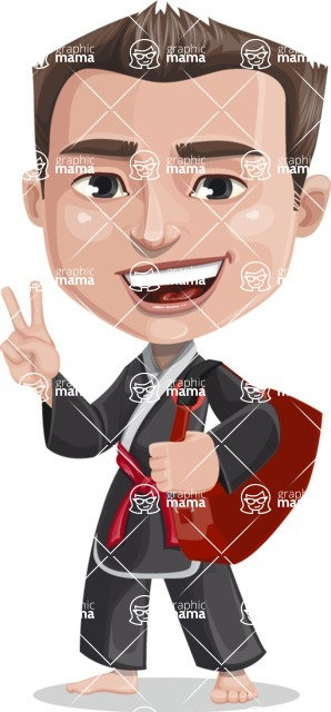 Chinese Karate Man Cartoon Vector Character AKA John Li - Travel