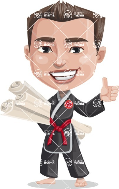 Chinese Karate Man Cartoon Vector Character AKA John Li - Plans