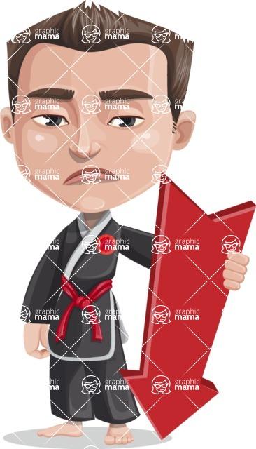 Chinese Karate Man Cartoon Vector Character AKA John Li - Pointer 3