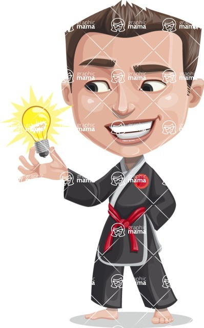 Chinese Karate Man Cartoon Vector Character AKA John Li - Idea