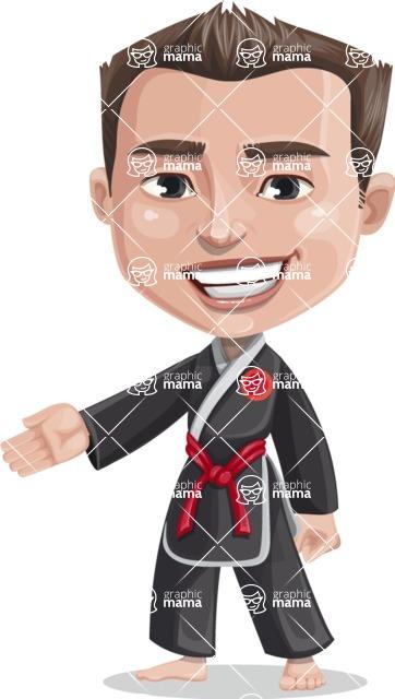 Chinese Karate Man Cartoon Vector Character AKA John Li - Show