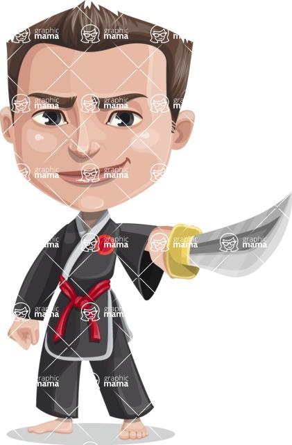 Chinese Karate Man Cartoon Vector Character AKA John Li - Sword