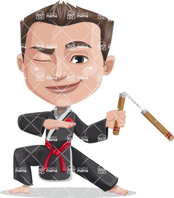 Chinese Karate Man Cartoon Vector Character AKA John Li - Nunchucks 2