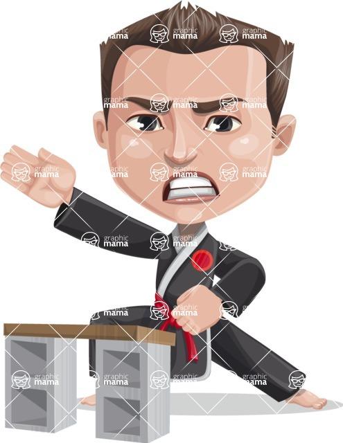Chinese Karate Man Cartoon Vector Character AKA John Li - Board breaking