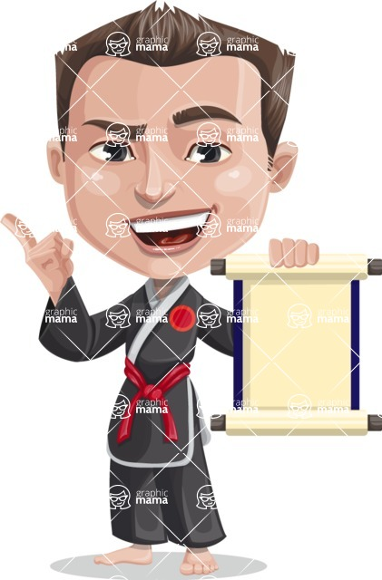 Chinese Karate Man Cartoon Vector Character AKA John Li - Scroll