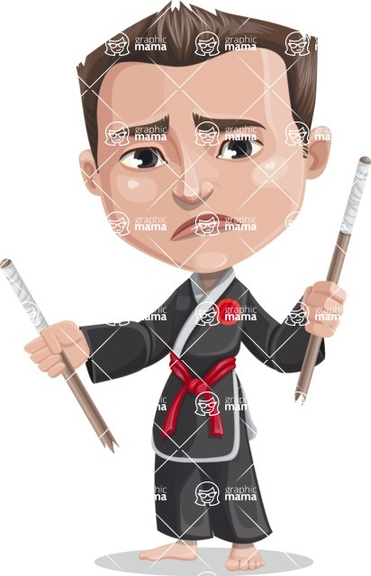 Chinese Karate Man Cartoon Vector Character AKA John Li - Under Construction