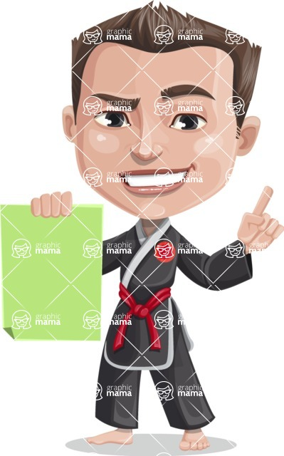 Chinese Karate Man Cartoon Vector Character AKA John Li - Sign 2