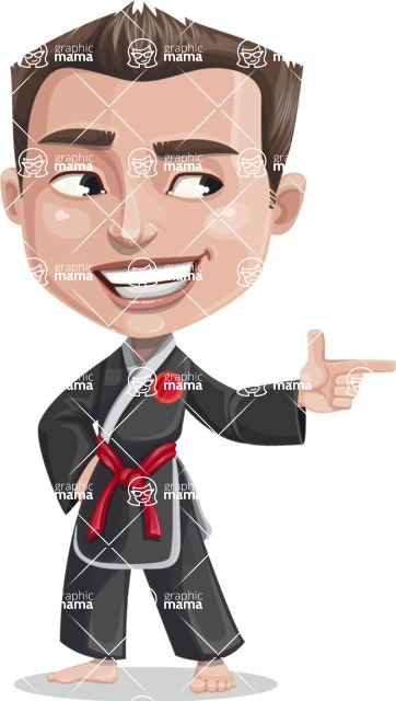 Chinese Karate Man Cartoon Vector Character AKA John Li - Point