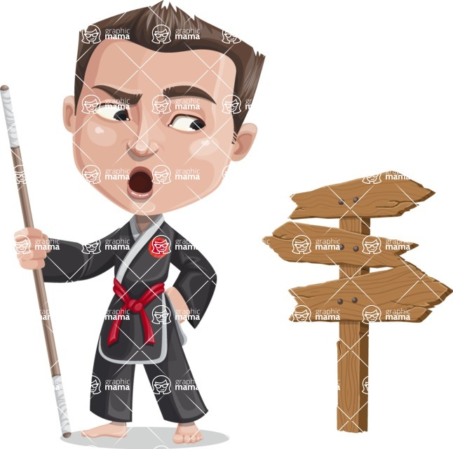 Chinese Karate Man Cartoon Vector Character AKA John Li - Crossroad