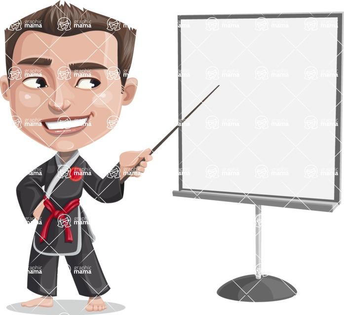 Chinese Karate Man Cartoon Vector Character AKA John Li - Presentation 2