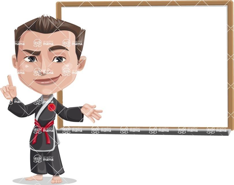 Chinese Karate Man Cartoon Vector Character AKA John Li - Presentation 3