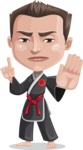 Chinese Karate Man Cartoon Vector Character AKA John Li - Direct Attention