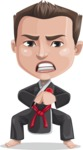 Chinese Karate Man Cartoon Vector Character AKA John Li - Angry