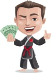 Chinese Karate Man Cartoon Vector Character AKA John Li - Show me the money