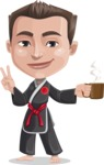 Chinese Karate Man Cartoon Vector Character AKA John Li - Coffee